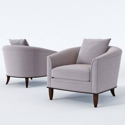 单人沙发, 休闲沙发, 布艺, 现代