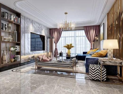 现代客厅, 轻奢客厅, 客厅, 客餐厅