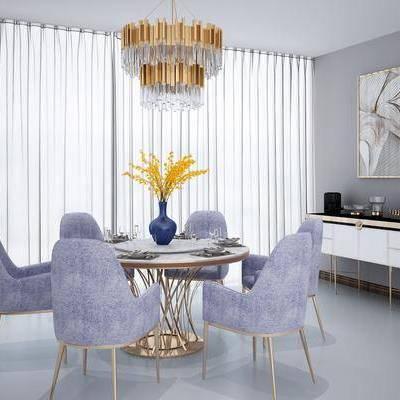 餐桌, 餐椅, 摆件, 边柜, 装饰画, 吊灯, 欧式