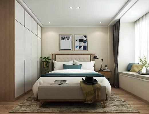 卧室, 北欧卧室, 床, 双人床, 床头柜, 装饰画