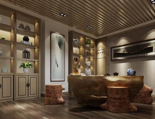 茶桌, 装饰画, 茶具组合, 置物柜