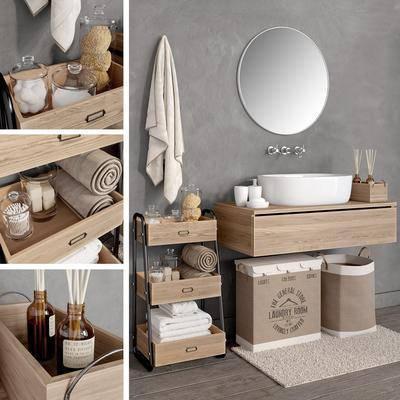 浴室柜架, 收纳箱, 洗手台盆, 浴镜, 浴巾, 香氛, 棉签, 浴室用品