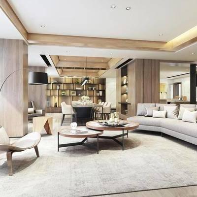 多人沙发, 单人沙发, 客厅, 茶几, 摆件, 餐桌, 餐椅, 装饰架, 落地灯, 吊灯, 现代