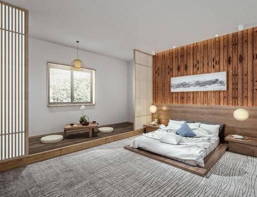 实木茶桌, 床头吊灯, 双人床品组合, 摆件, 装饰品