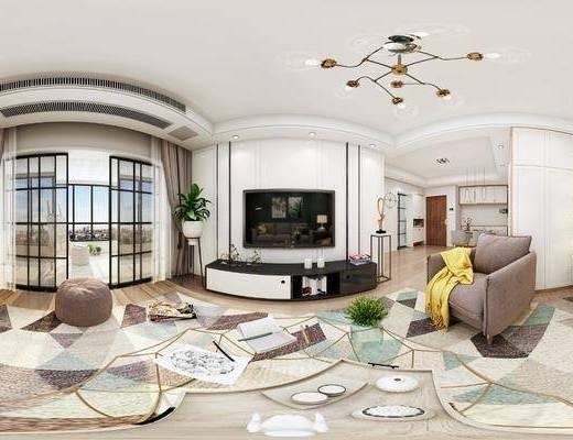 沙发组合, 茶几, 电视柜, 吊灯, 单椅, 桌椅组合
