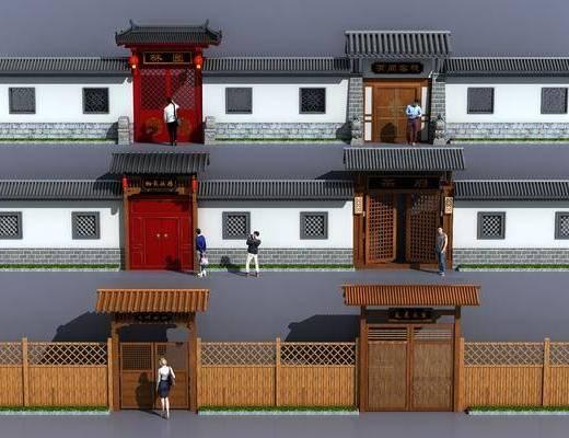 小院围墙, 门面门头, 人, 中式