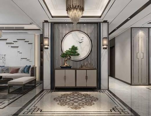 玄关柜组合, 吊灯组合, 盆栽, 绿植植物, 新中式
