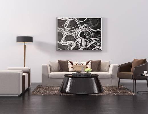 单椅, 沙发组合, 装饰画, 茶几, 落地灯, 现代沙发