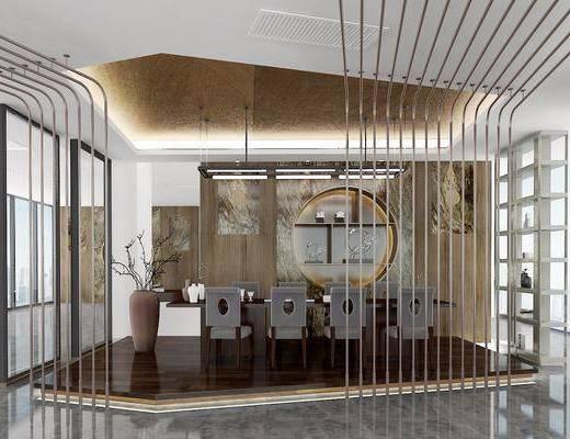 餐桌, 餐椅, 单人椅, 装饰柜, 装饰品, 陈设品, 装饰架, 新中式