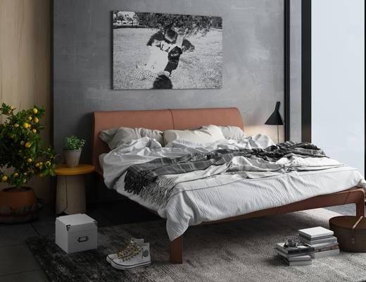工业风卧室, 床, 床头柜组合, 盆栽, 床品, 鞋子