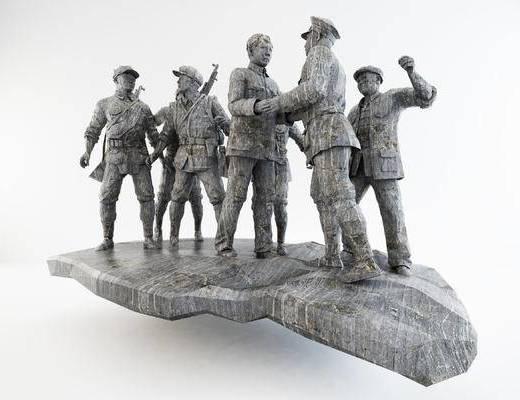 红军革命雕塑模型