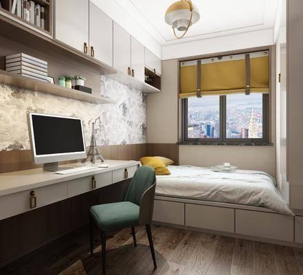 榻榻米, 儿童房, 书桌, 单人椅, 电脑, 新中式