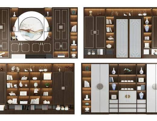 酒柜, 酒架, 装饰边柜, 摆件, 装饰品, 陈设品, 装饰柜, 新中式