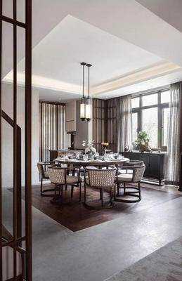 餐厅, 餐桌椅, 椅子, 桌子, 吊灯, 边柜