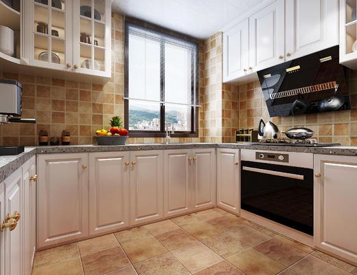 简欧, 厨房, 橱柜, 家用电器
