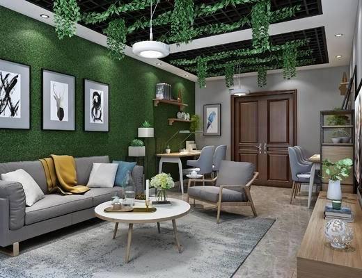 收费站休息室, 北欧休闲室, 沙发, 茶几, 电视柜, 单椅, 书桌, 挂画, 置物架, 植物