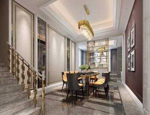 新古典别墅餐厅, 餐厅, 欧式吊灯, 餐桌椅, 楼梯, 椅子, 装饰画