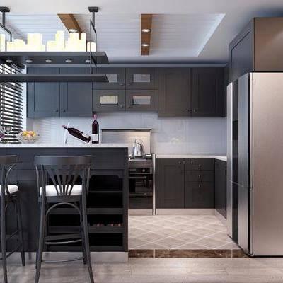 现代开放式厨房, 冰箱, 吧台, 吧凳, 红酒, 水壶, 百叶帘
