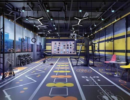 健身房, 私教区, 健身器材, 休闲桌椅, 吊灯, 挂画