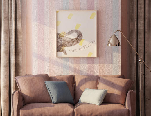 现代, 沙发, 落地灯, 挂画