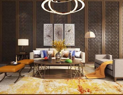沙发组合, 沙发茶几组合, 现代沙发, 装饰画, 落地灯, 吊灯