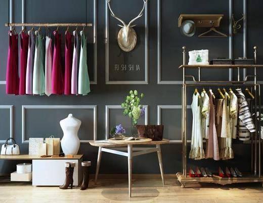 展示架, 展示台, 置物架, 墙饰, 衣架, 服饰, 鞋架, 现代