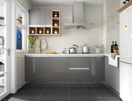 现代, 厨房, 厨具, 橱柜, 家用电器