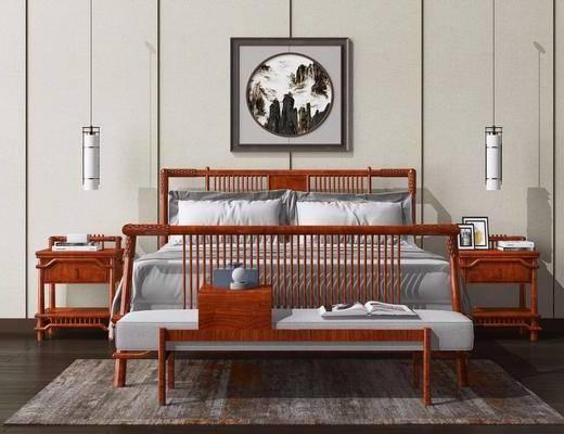 床头柜, 床具组合, 床头装饰, 挂画, 双人床