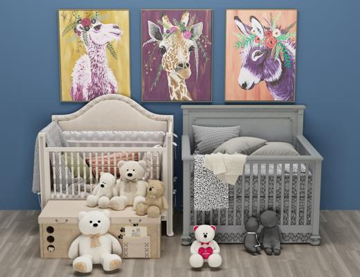 北欧婴儿床, 玩具, 摇摇床, 挂画, 儿童床