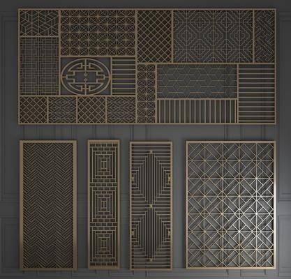 屏风, 隔断, 新中式金属屏风隔断3d模型, 金属, 镂空