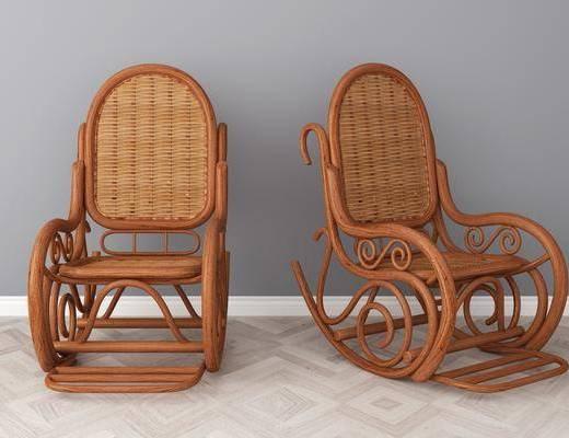 实木藤椅, 休闲椅, 美式