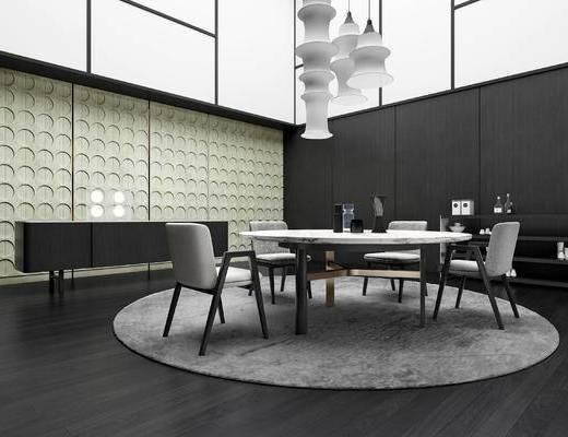 餐桌椅, 桌椅组合, 椅子, 桌子, 吊灯, 边柜, 新中式