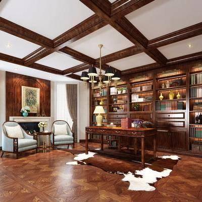 书房, 装饰柜, 摆件, 书籍, 单人沙发, 单人椅, 茶几, 台灯, 吊灯, 装饰画, 挂画, 装饰品, 陈设品, 欧式