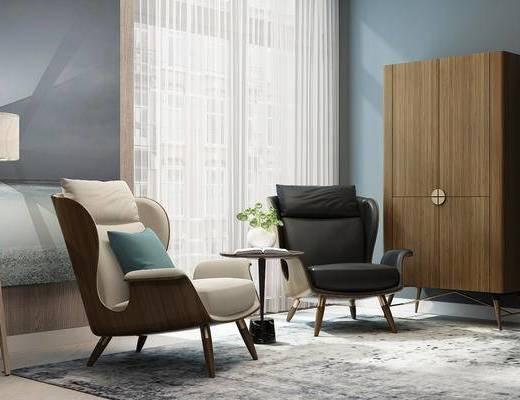 休闲椅, 圆几, 酒柜, 单人沙发, 单人椅, 花瓶