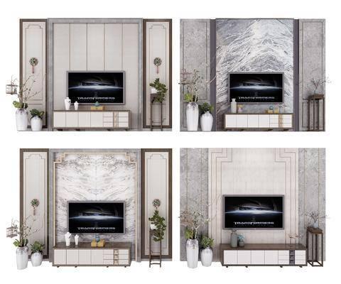 电视柜组合, 背景墙, 电视柜, 边柜, 花瓶, 绿植植物, 新中式