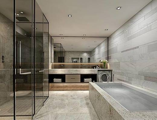 现代, 卫生间, 浴室柜, 浴缸, 卫浴用品
