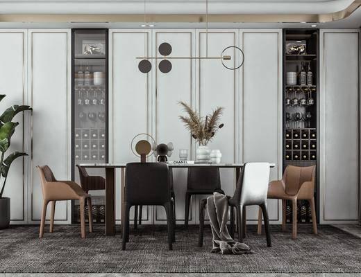 餐桌椅, 吊灯, 绿植, 方形餐桌, 摆件