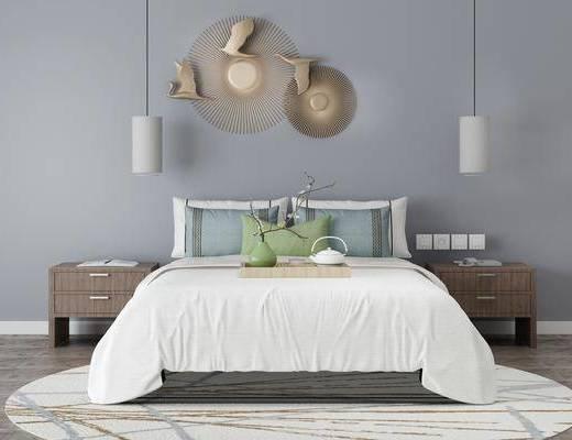 双人床, 床具组合, 吊灯, 墙饰