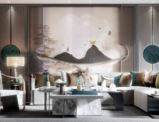 沙发组合, 背景墙, 茶几, 吊灯, 单椅, 抱枕