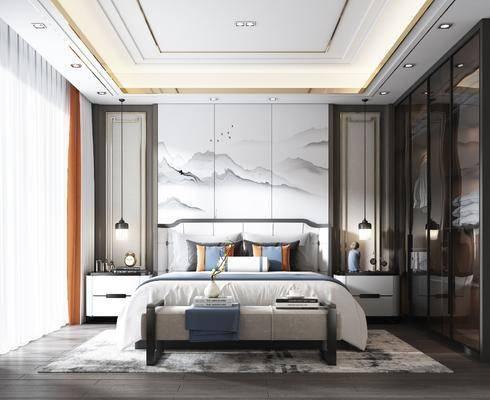 雙人床, 床具組合, 背景墻, 衣柜, 吊燈