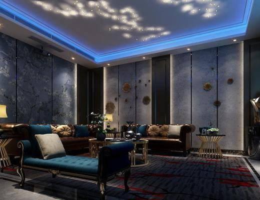 影音室, 多人沙发, 躺椅, 边几, 台灯, 茶几, 装饰品, 陈设品, 边柜, 电视柜, 新古典