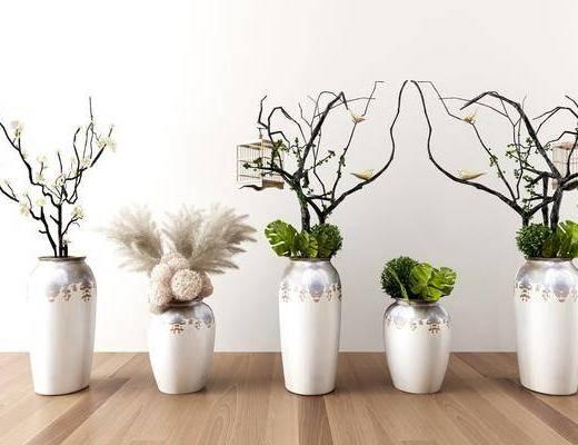 花瓶, 花卉, 摆件组合