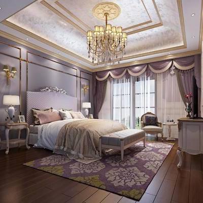 卧室, 双人床, 床头柜, 台灯, 壁灯, 床尾凳, 电视柜, 边柜, 单人沙发, 装饰品, 摆件, 陈设品, 吊灯, 茶几, 欧式