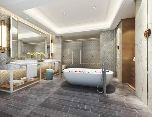 后现代轻奢卫浴, 浴缸, 境, 洗手台