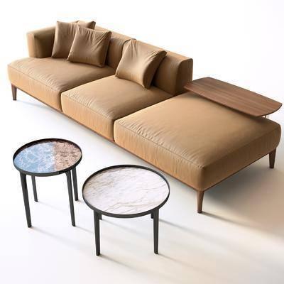 多人沙发, 靠枕, 皮革, 现代