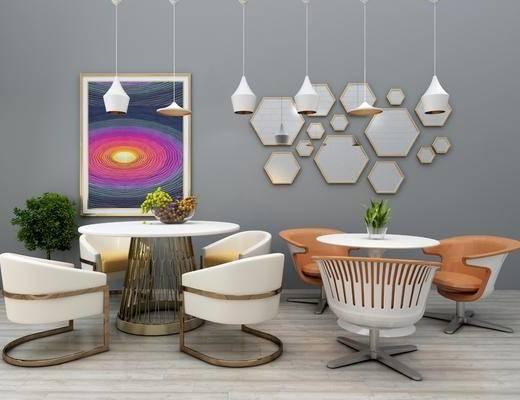 休闲桌椅组合, 单人椅, 休闲椅, 茶几, 桌子, 茶桌, 单人沙发, 墙饰, 装饰画, 挂画, 盆栽, 植物, 吊灯, 现代
