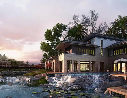 溪边, 别墅, 建筑