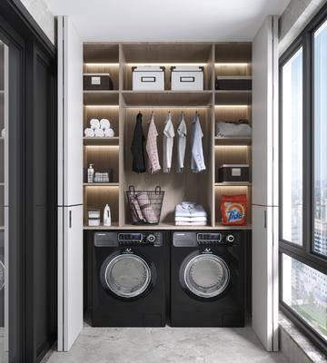 现代, 洗衣房, 家装