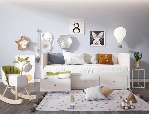 儿童床, 玩具, 地毯, 装饰画