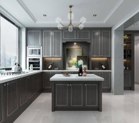 厨房, 橱柜, 装饰柜, 吊灯, 装饰画, 挂画, 装饰品, 陈设品, 现代